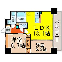 愛知県名古屋市西区城西2丁目の賃貸マンションの間取り