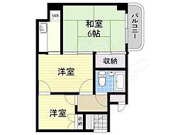 江坂ロイヤルハイツ 4階3DKの間取り