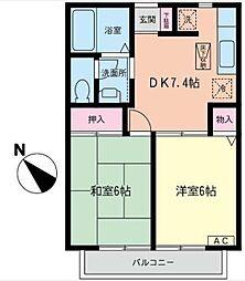 神奈川県横浜市戸塚区上品濃の賃貸アパートの間取り