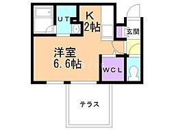 札幌市営南北線 真駒内駅 徒歩14分の賃貸マンション 1階1Kの間取り