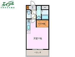 三岐鉄道三岐線 平津駅 徒歩5分の賃貸マンション 1階ワンルームの間取り