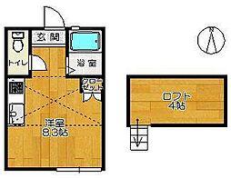 八幡館 3階ワンルームの間取り