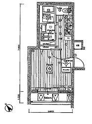 JR埼京線 北赤羽駅 徒歩13分の賃貸マンション 3階1Kの間取り