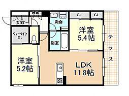 (仮称)新築シャーメゾン法善寺PJ 1階2LDKの間取り