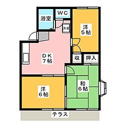 パークコーポ A棟[1階]の間取り