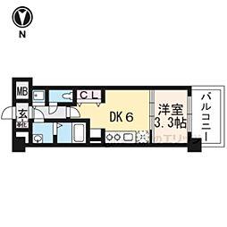 THE GARNET MILLENNIUM KYOTO九条烏丸605 6階1DKの間取り