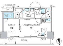 東京メトロ東西線 南砂町駅 徒歩10分の賃貸マンション 3階1LDKの間取り