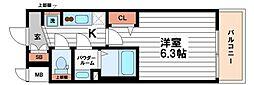 ララプレイス天王寺シエロ 12階1Kの間取り