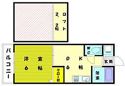 キャピタルフラット奈多[2階]の間取り
