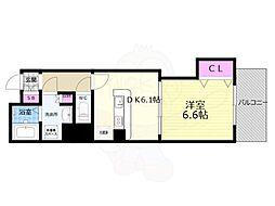 京都市営烏丸線 京都駅 徒歩8分の賃貸マンション 5階1DKの間取り