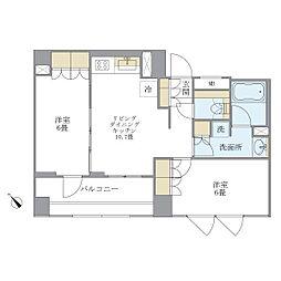 東急目黒線 不動前駅 徒歩6分の賃貸マンション 2階2LDKの間取り