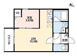 阪神なんば線 千鳥橋駅 徒歩12分の賃貸アパート 1階1LDKの間取り