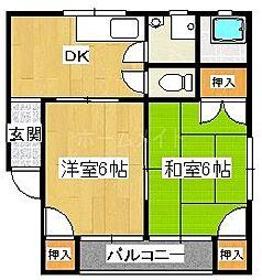 福岡県春日市一の谷5丁目の賃貸マンションの間取り