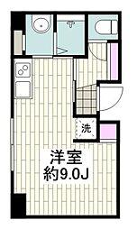 横浜市営地下鉄ブルーライン 桜木町駅 徒歩5分の賃貸マンション 2階ワンルームの間取り