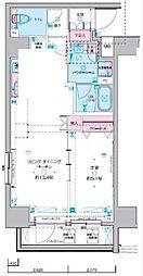 ジェノヴィア東神田グリーンヴェール 7階1LDKの間取り