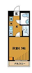JR中央線 西国分寺駅 徒歩4分の賃貸マンション 3階1Kの間取り
