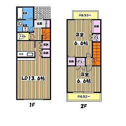 [テラスハウス] 東京都昭島市緑町2丁目 の賃貸【/】の間取り