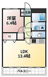 西中島東行マンション[5階]の間取り