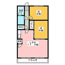 ピースキャピタル上菅[4階]の間取り