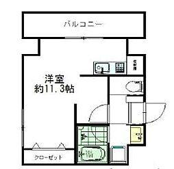 西鉄天神大牟田線 薬院駅 徒歩10分の賃貸マンション 4階ワンルームの間取り