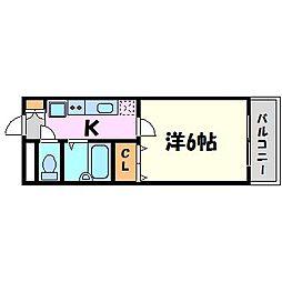 兵庫県西宮市鳴尾町1丁目の賃貸アパートの間取り