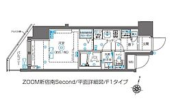 ZOOM新宿南Second 11階1Kの間取り