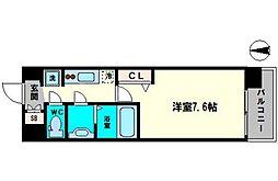 アドバンス大阪城シュアーヴ 10階1Kの間取り