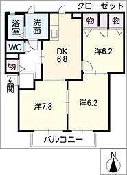 ミラソルドゥーエB棟[1階]の間取り