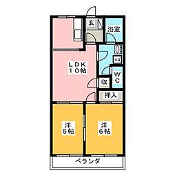 コーポタカダ B[2階]の間取り
