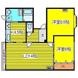 北海道札幌市東区北二十一条東6丁目の賃貸アパートの間取り