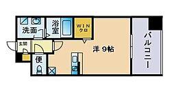 トラストレジデンス博多駅南 6階ワンルームの間取り