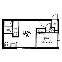 札幌市営東西線 西11丁目駅 徒歩14分の賃貸マンション 4階1LDKの間取り