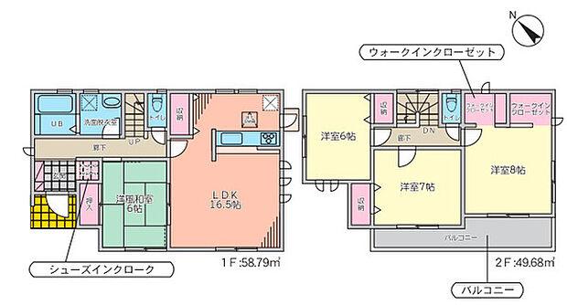 全居室6帖以上のゆとりある間取♪2か所のWIC等収納充実で住空間はスッキリ広々!リビング隣接の和室は開放すればリビングとつながる広々とした寛ぎスペースに!