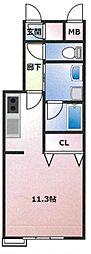(仮)東古松4丁目マンション 5階ワンルームの間取り
