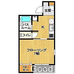 福岡県福岡市城南区梅林2丁目の賃貸アパートの間取り