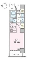 東京メトロ日比谷線 南千住駅 徒歩5分の賃貸マンション 7階1Kの間取り
