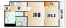 ウィングス片野I[8階]の間取り