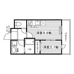 JR東北本線 仙北町駅 徒歩1分の賃貸マンション 3階2Rの間取り