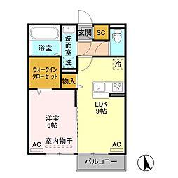 JR水戸線 結城駅 徒歩30分の賃貸アパート 2階1LDKの間取り