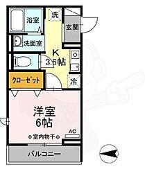 京王線 国領駅 徒歩4分の賃貸アパート 2階1Kの間取り