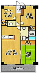ラウムズ三田[5階]の間取り