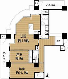 カデンツァ・ザ・タワー 19階2LDKの間取り