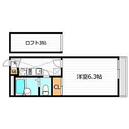大阪府大阪市福島区海老江3丁目の賃貸アパートの間取り