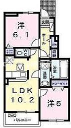 岡山県岡山市東区西大寺中野本町丁目なしの賃貸アパートの間取り