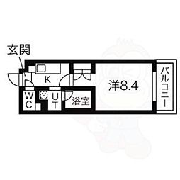 名古屋市営鶴舞線 いりなか駅 徒歩7分の賃貸マンション 5階1Kの間取り