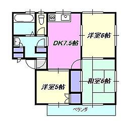新倉ハイツ[1階]の間取り