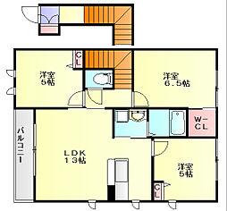 福岡県春日市上白水5丁目の賃貸アパートの間取り