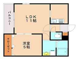 メゾンクレール竹下駅前壱番館 3階1LDKの間取り