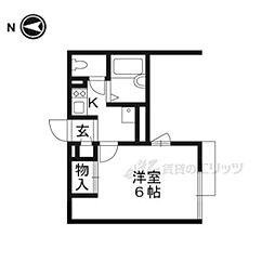 JR湖西線 堅田駅 徒歩23分の賃貸アパート 1階1Kの間取り