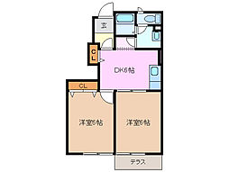 クルーセB棟[1階]の間取り